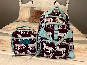 pottery barn kids large bookbag and lunch box unicorn