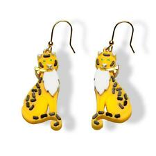 PRADA 2011 Yellow Resin LEOPARDS JOSEPHINE BAKER Earrings Unworn Sold out !