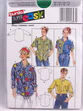 Burda Sewing Pattern 4893 Button Front Big Shirt Teens Sizes 10 12 14 16 Uncut