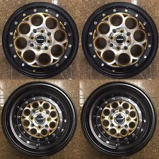 2x 15x3.5 + 2x 13x9 DRAG RACING WHEELS 4X100 / 4x114.3 REVOLVER RIMS GOLD BLACK