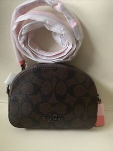 NWOT Coach Mini Serena Crossbody Brown Pink Lemonade Purse Micro Bag $250