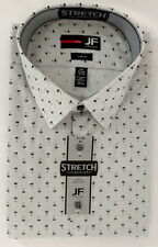 JF J Ferrar Dress Shirt Mens XXL 18 34 35 Gray Black White Striped Palm Tree