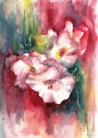ACEO Bell flowers original painting watercolor art card