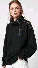 💜💜💜All Saints Bella Zip Leather Trim Sweatshirt L Bnwt💜💜💜