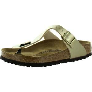 Birkenstock Womens Gizeh Gold Leather Buckle Footbed Sandals Shoes 38 BHFO 4468