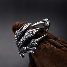 Creative Stainless Steel Dragon Claws Ring Man Women's Band Silver Adjustable