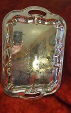 """Vtg. Antique Silver Plated Butler Large Rectangular Handled Serving Tray, 18"""""""