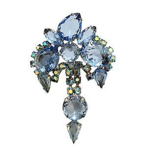 Baby Blue Unfoiled Rhinestone Brooch with Pear Shaped Rhinestone Dangles