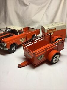 Nylint U Haul Ford Pickup Truck and 2 Trailers Vintage 1960's Pressed Steel Toys