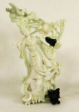 Antique Chinese Guanyin Hand Carved Jadeite Jade Figure Sculpture