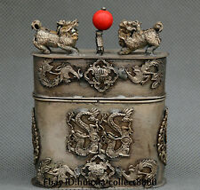 Collect Old Miao silver Carve dragon phoenix kylin box jewelry box gift box