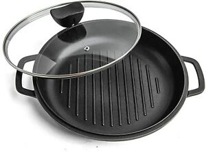 Nuovva Griddle Pan with Lid Nonstick Die Cast Aluminium Induction Hob Skillet