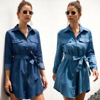 Women's Blue Jeans Denim T-Shirt Long Sleeve Casual Loose Shirt Mini Dress CA