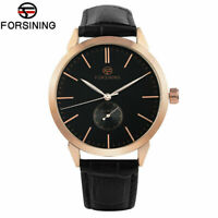 FORSINING Leather Strap Men Business Dress Self-Wind Mechanical Wrist Watch Gift