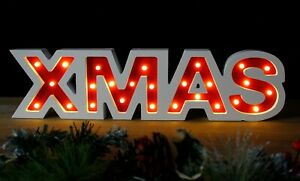 2ft White Wooden Xmas Sign Large LED Window Christmas Decoration Battery Op
