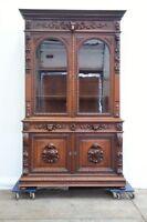 Large Antique French Oak Renaissance Hunt Bookcase Cabinet Carved Dog Heads
