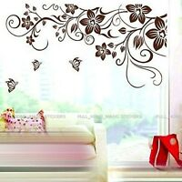 Removable Brown Flower Vine Butterfly Vinyl Art Decal Wall Stickers Window Decor