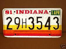 1981 Indiana License Plate, New, NOS, Vintage