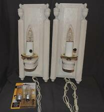VINTAGE ART DECO MATCHED PAIR C N BURMAN BLEACHED OAK LOOK WALL SCONCES - EUC