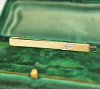 Vintage 9ct gold tie clip slide Art Deco Diamond Peaky Blinders 3.24g #Y443
