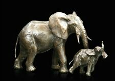 Elephant Cow & Calf Solid Bronze Foundry Cast Sculpture by Michael Simpson (938)