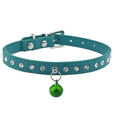 Lux Accessories Teal and Crystal Rhinestone Bell Pet Cat Dog Collar Necklace