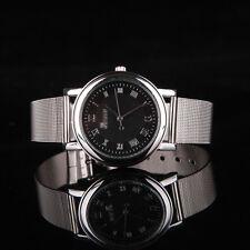 Ladies Fashion Geneva Quartz Silver Tone Black Faced Silver Mesh Band Wristwatch