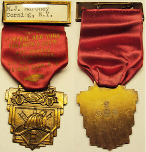 1954 61st Annual CNY Firemen's Annual Convention Watkins Glen NY Ribbon Medal