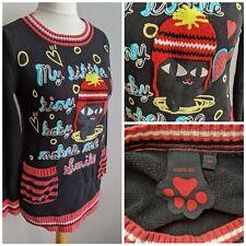 Azona A02 Cat Jumper Size Medium 10/12 Black Knit Unique Quirky Pockets