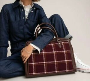 La Redoute Collections Ladies Large Burgundy Checked Bag Bnnt r.r.p £48