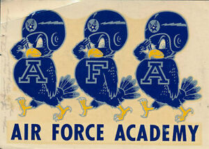 Air Force Academy RARE Original Vintage Decal 1950s NCAA Falcons College sticker