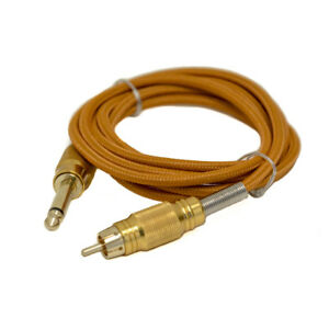 """Tattoo RCA Clip Cord 6FT Gold Braided Thick Wire Plug 6' 1/5"""" by Nathaniel Gold"""