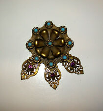 Vintage Deco Brass Dress Clip HUGE