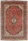 Vintage Floral Ardekan Rug, 8'x12', Red/Blue, Hand-Knotted Wool Pile