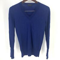 J. Crew 100% Merino Wool Blue V Neck Sweater Womens Size S Lightweight Stretch