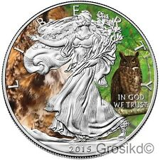 2015 1 Oz SILVER EAGLE ANIMALS GREAT HORNED OWL COLOR MINTAGE 100 PCS WITH COA