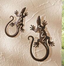 Metall Deko Gecko 2-er Set, Geckos, Eidechse,  Gartendeko, Tierfigur, Wandhänger