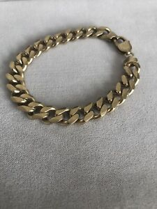 """Mens Chunky Gold Plated Silver 925 Solid Curb Link Chain Bracelet 40g 8"""""""