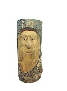 30cm Wooden Hand Carved Wizard Forest Green Man Full Log Home Garden Ornament