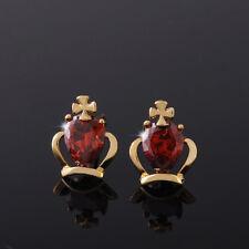 Cute Crown girls kid baby 14K gold filled Crown crystal security stud earrings