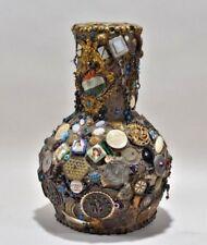 Antique German or Austrian 1900 vase handmade pottery décor Family or Military