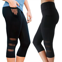 Womens Workout Leggings Yoga plus Gym Sport Running Fitness Capri Pants Trousers