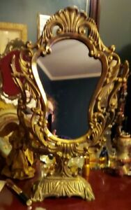Vintage Ornate Heavy Solid Brass Victorian Tilting Vanity Stand Mirror 20""