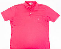 Peter Millar Mens Pink 100% Pima Cotton Polo Embroidered Pocket Size L
