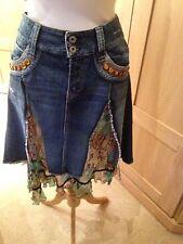 Ladies Denim And Jungle Print Summer Skirt NO.L.ITA NYC Size 44 Flash +Partne