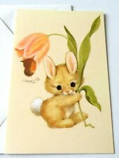 Vintage Greeting Card Blank Cute Bunny Upside Down Tulip and Bird Hi There!
