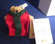 "Steiff ""All Wrapped Up"" Mohair Bear in Felt Christmas Present Ornament - Limited"