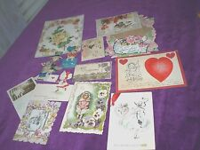 12 Antique 1908 to 1930 Valentines - Die Cut and Folding with Poems