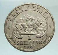 1941 British EAST AFRICA UK King George VI RARE Silver Shilling Coin i77010