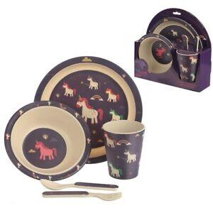 Unicorn Bamboo Kids Dinner Set Children Plate Bowl Eco-Friendly Reusable Cutlery